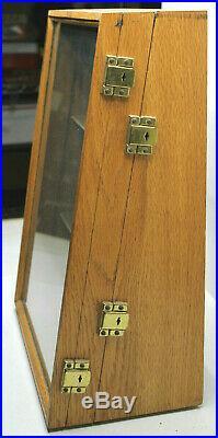 E Rare Camillus NY Cutlery Knife Knives Oak Store Shelf Display Case Double Door