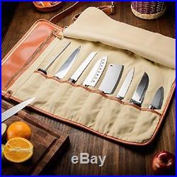 EVERPRIDE Chef's Knife Roll Up Storage Bag 8-Pocket Carrier Stores 8 Knives PLUS