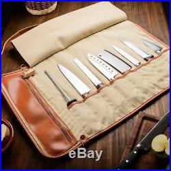 EVERPRIDE Chefs Knife Roll Up Storage Bag (8-Pocket)- Made of Synthetic Leath