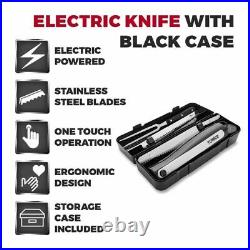 Electric Knife Set With Fork Stainless Steel Blades With Storage Case