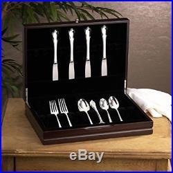 Flatware Storage Chest Organizer Dark Walnut Box Wood Case Knife Holder
