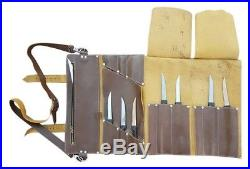 Full Grain Handmade Leather Chef Roll Knife&Cutlery Carry Case Storage Bag Kit