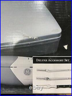 GE Electric Knife & Carving Set Deluxe Accessory Fork Bread & Meat Blades Case