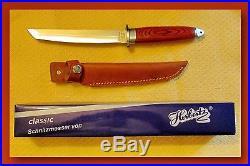 German Herbertz Tanto Fixed Blade Knife, Sheath & Cape Buffalo Storage Case