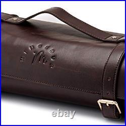 Genuine Brown Leather Knife Roll Storage Bag Case 10 Pockets & Shoulder Strap
