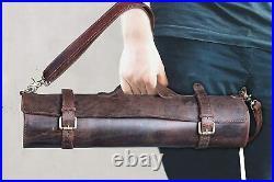 Genuine Buffalo Leather Knife Roll Storage Bag Case Chef's Holder 10 Pockets