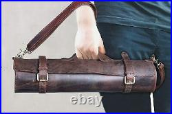 Genuine Buffalo Leather Knife Roll Storage Bag Case Chef's Holder 10 Pockets2
