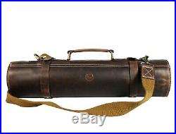 Genuine Vintage Leather Chef Case storage Portable Knife Roll Culinary Bag
