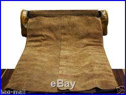 Genuine buff calf leather duffel knife backpack chefs case knives storage roll