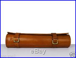 Genuine cowhide leather knife storage roll chefs bag cutlery holder case