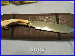 Handmade Knife. North & Prater Crown Stag Bowie Unused. Excellent. 1986