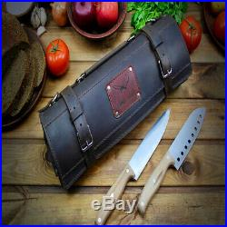Handmade Roll Knife Genuine Leather Personalized Chef Case Handles Storage Bag