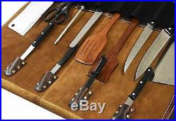 Handmade leather knife roll/ Durable knife storage/ Leather chef gear/ Tool bag
