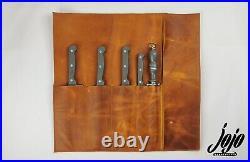 JOJO HANDCRAFTE Leather Knife Roll Case(5 pockets)Kitchen Tool Storage TABACCO