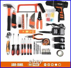 Jar-owl 91Pcs Tool Kit Lithium 16.8V Electric Drill Wrench Toolbox Storage Case