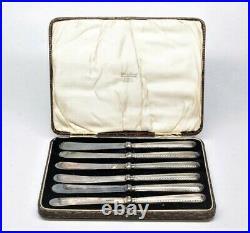 John Biggin, Sterling Silver Knives 6pc, Storage Case Set, Sheffield England1925