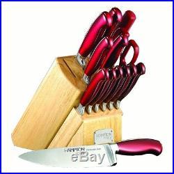 Kitchen Siganture Argentum Knife Block Set 14 Pieces with Knife Storage Case Red