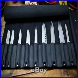 Knife Chef Roll Case Black Genuine Leather Handles Handmade Storage Bag