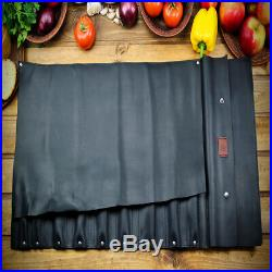 Knife Chef Roll Case Black Leather Storage Bag Handles Handmade