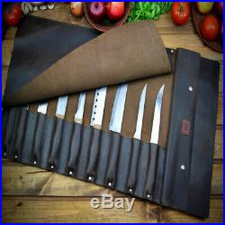 Knife Chef Roll Case Brown Genuine Leather Handles Handmade Storage Bag