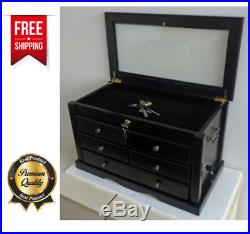 Knife Collection Display Cabinet Small Pocket Knives Drawer Wooden Storage Case