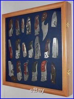 Knife Display Case Holder Pocket Knives Glass Home Decoration Wall Mount Storage