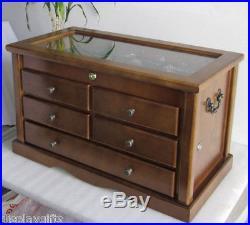 Knife Display Case Storage Cabinet, Shadow Box Top, Solid Wood, KC07-WALN