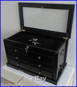 Knife Display Case Storage Cabinet with Shadow Box Top, Solid Hardwood, KC07-BLA