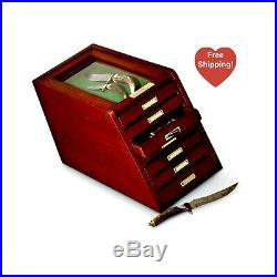 Knife Gun Coin Collection Cherry Wood Storage Collectors Display Case Cabinet