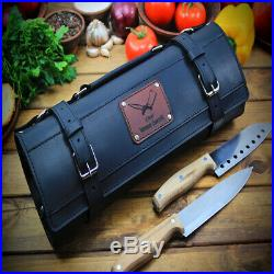 Knife Roll Black Leather Chef Case Handles Storage Bag
