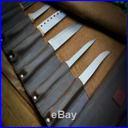 Knife Roll Brown Leather Chef Case Handles Storage Bag