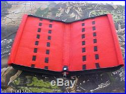 Knife Storage Case Pack Holds 16 Pocket Knives Felt Interior Zipper Imt. Leather