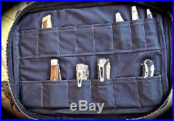 Knife Travel Case, Black Canvas Soft Sided Fixed Blade and Folding Knife Storage