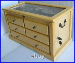 Large Knife Display Case Storage Cabinet withShadow Box on the top, Solid woodKC7