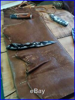 Leather Case Men Pocket Knife Storage Travel Roll Holder Pouch everyday carry
