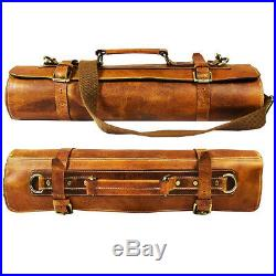 Leather Knife Roll Storage Bag Travel-Friendly Chef Knife Case Roll 10 Pockets