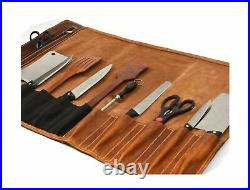 Leather Knife Roll Storage Bag Travel-Friendly Chef Knife Case Roll (WALNUT)