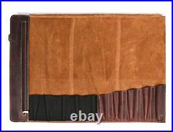Leather Knife Roll Storage Bag Travel-Friendly Chef Knife Case Roll WALNUT