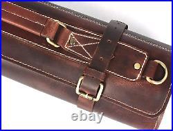 Leather Roll Storage Bag Travel Friendly Chef Knife Case Roll Walnut