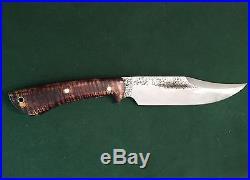 Lon Humphrey Gunfighter Bowie Knife Dark Curly Maple NEW Soft Storage Case