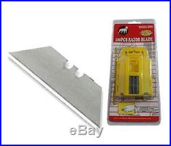 New 100Pc Safety Knife Razor Blades Double-Edged Extra Sharp Storage Case