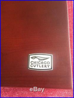 New Chicago Cutlery 8 Piece Steak Knife Set Black With Wooden Storage Case