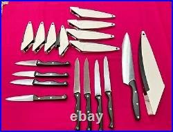 PAMPERED CHEF Knives with BONUS Self Sharpening Storage Cases SET