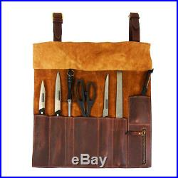 Personalized Handmade Roll Knife Genuine Leather Bag Chef Case Storage Handles