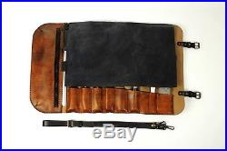 Personalized Leather Chef Knife Roll Bag Storage Case Culinary Knives Tools