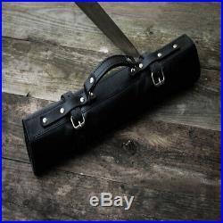Personalized Roll Knife Bag Genuine Leather Chef Case Storage Handles Handmade