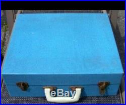 Picnic Set 4 plates forks knives spoons storage boxes blue travel case vintage +