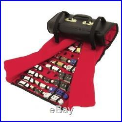 Pocket Knife Holder Folding Roll Up Storage Case Display With Handle Black Red