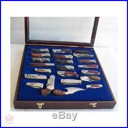 Pocket Knife Storage Display Case Cabinet Wall Mount Shadow Box Glass Door NEW