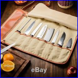 Portable Chef Knife Roll Up Storage Bag 8-Pocket Carrier Organizer Case with Strap